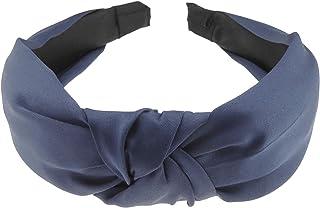 Glamour Girlz, Diadema de satén cubierto para mujer, con nudo superior, banda de Alicia (azul marino)