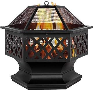 24 Hexagon-Förmiges Bacher-Holzbrenner-Feuerstelle Ist Für Den Hinterhof Im Freien Eingerichtet