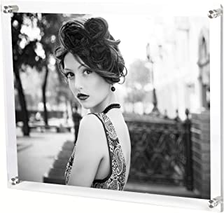 Bloberey 11 x 14 Acrylic Picture Frames Wall Mount Photo Frame Frameless Clear Floating Frame for Document Certificate Artwork