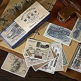 Haodou Pegatinas Decorativo Vintage Diario Carta Inglés Periódico Papel Flor Planta Pegatinas Scrapbooking Escamas Papelería