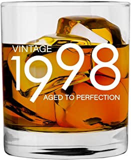 1998 21st Birthday Gifts for Men and Women Whiskey Glass | Bourbon Scotch Glasses 21st Bday Gift Ideas for Him Her Dad Mom Husband Wife | 11 oz Whisky Old Fashioned Bar Glasses Lowball Decorations