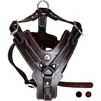 Peshouco Leather Dog Harness Handmade Genuine Leather Durable Strong Pet Harness with Adjustable Straps No Pull Easy Control Pet Vest
