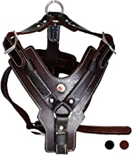 Peshouco Leather Dog Harness Handmade Genuine Leather Durable Strong Pet Harness with Adjustable Straps No Pull Easy Control Pet Vest Halloween Crafts