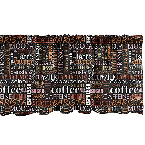 """Ambesonne Coffee Window Valance, Colorful Typography Pattern of Vertical Horizontal Words Caffeine Aroma Espresso, Curtain Valance for Kitchen Bedroom Decor with Rod Pocket, 54"""" X 12"""", Orange Black"""