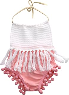 Baby Girls Halter Backless Splice Tassels Pompom Romper Sunsuit Clothes