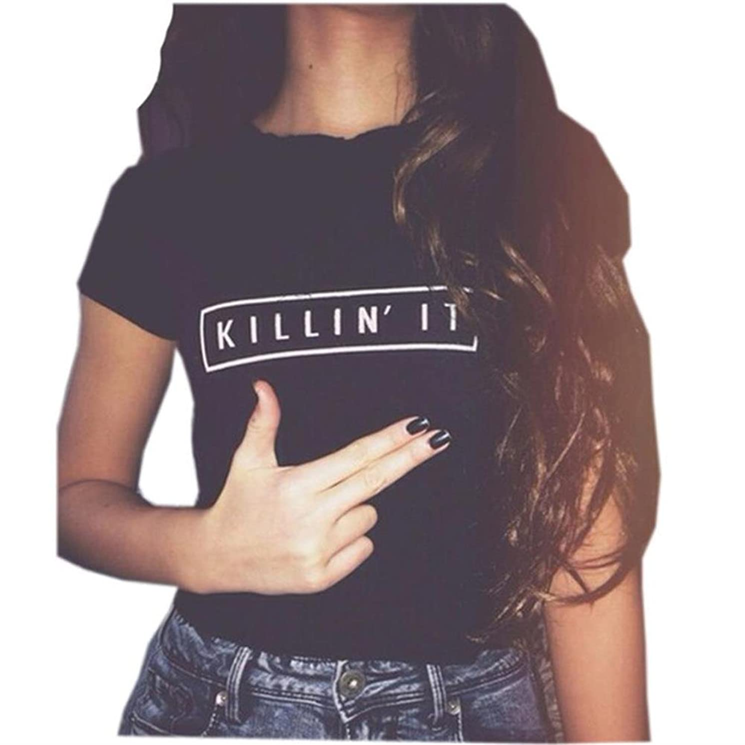 YITAN Women's Cute Juniors Tops Teen Girl Tee Funny T Shirt