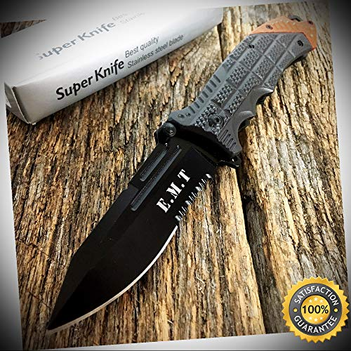 8.25'' E.M.T Spring Assisted Open Pocket Knife Military Style Bowie - Outdoor For Camping Hunting Cosplay
