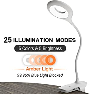Clip on Light, OUTOPEST LED Reading Light with 5 Colors & 5 Brightness, Rechargeable 28 LED Desk Lamp Clamp, Bed Lights for Headboard, Tattoo, Nail Art, Makeup & Lash Lamp (Amber Light Included)