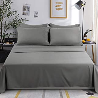 KARRISM Queen Size 6 Piece Bed Sheets Set Extra Soft & Breathable Brushed 1800 Series Microfiber, Wrinkle & Fade Resistant, Comfortable Deep Pocket Bedding Set, Gray