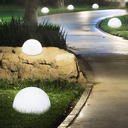 4er Set LED Solar Außen Lampen Halb-Kugel Design Wand Boden Leuchten Garten Balkon Rasen Beleuchtung
