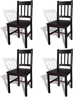vidaXL 4X Dining Chairs Kitchen Living Room Furniture Seat Wood Dark Brown