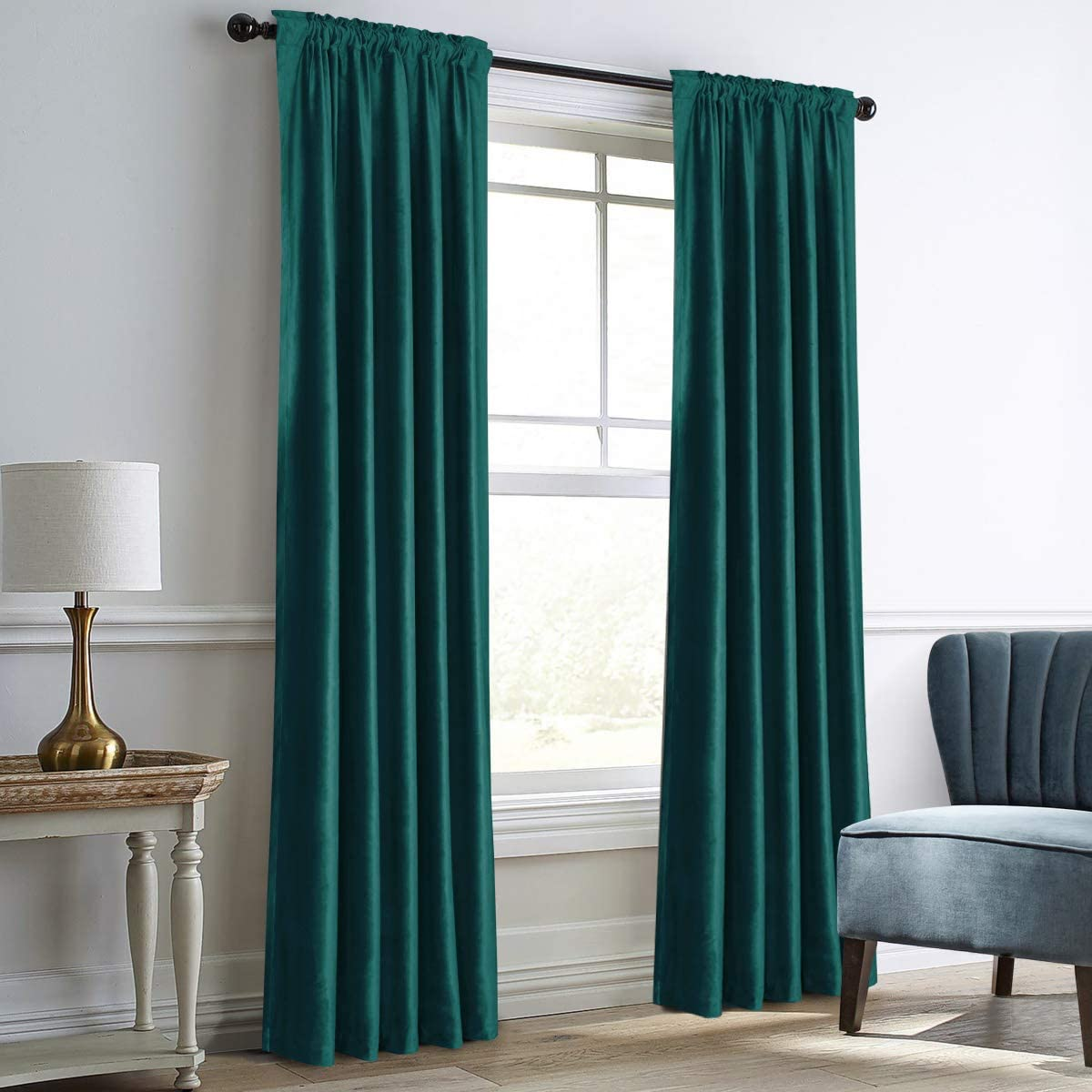 """Dreaming Casa Teal Green Velvet Curtains for Living Room Thermal Insulated Rod Pocket Back Tab Window Curtain for Bedroom 2 Panels 52"""" W x 84"""" L 52W x 84L Teal Green"""