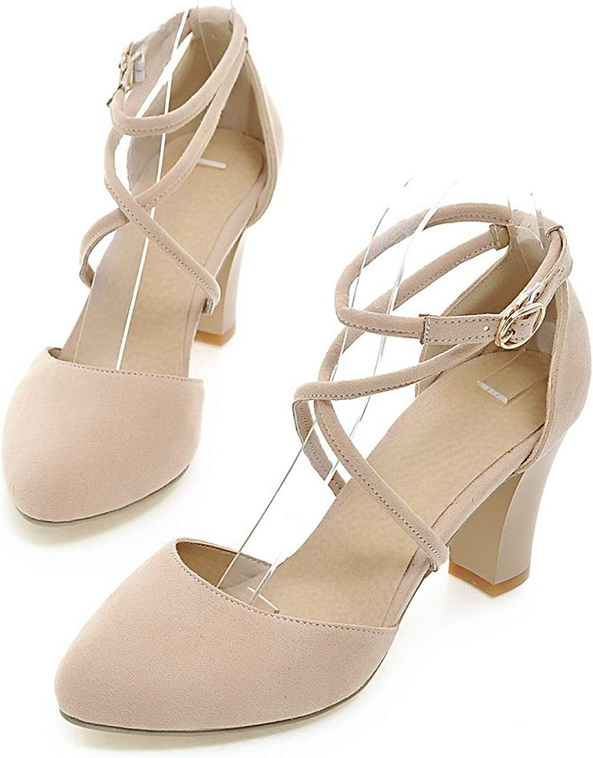 Sexy Ladies shoes high Heels Round Toe Square Heel with Buckle Grey Light bluee color Pumps shoes,Beige,4