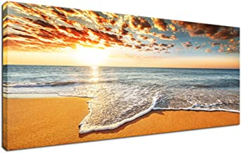 """Innopics Sea Sunset Landscape Canvas Wall Decor Ocean Sky Horizon Scenery Giclee Print Art Gallery Wrapped Contemporary Picture Painting 48""""Wx20""""H Multi INP1904133"""