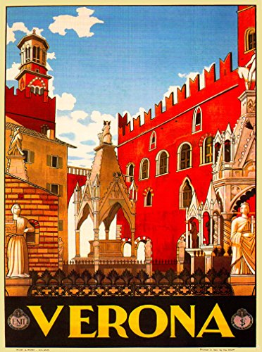 A SLICE IN TIME Verona Italy Vintage Art Travel Advertisement Poster Picture Print. Measures 10 x 13.5 inches