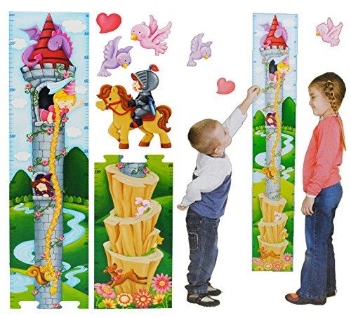 alles-meine.de GmbH 3-D Moosgummi - Meßlatte - Märchen Turm Rapunzel - Wandtattoo selbstklebend mit 4 Sticker / Aufkleber - Messlatte / Meßlatten - Wachstumsleiste - für Kinder /..