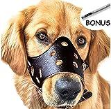 Cane Museruole di Pelle, anti-corteccia, anti-morso, musi di sicurezza anti-masticare per cani (Nero-M)