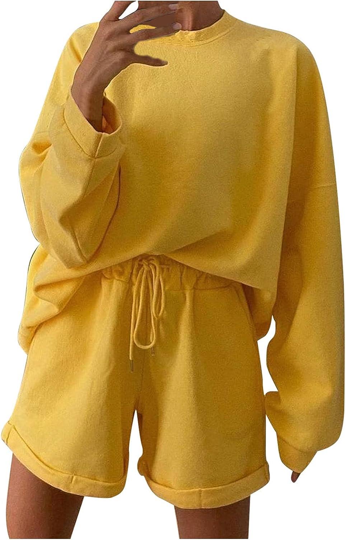UOCUFY Sweatshirts for Women, Womens 2021 Long Sleeve Pullover Sweatshirts Cute Printed Loose Drawstring Hoodie Tops