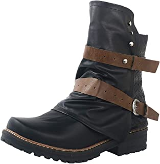 BootsWomen Leather Buckle Ankle Boots Heel Boots Large Size Side Zipper Casual Shoes