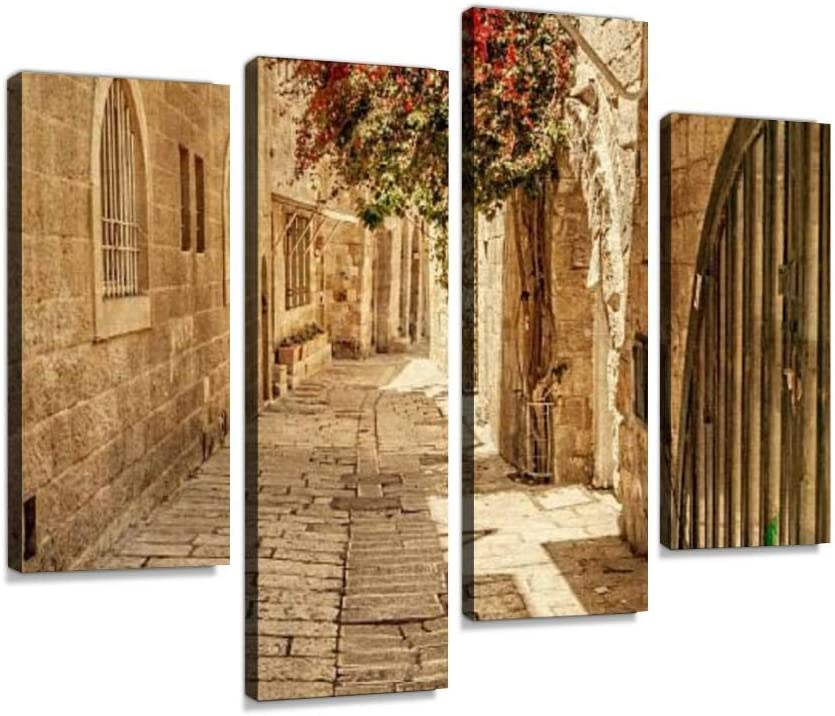 Sacramento Mall Ancient Alley in Jewish NEW before selling ☆ Quarter Hang Canvas Jerusalem. Wall Art