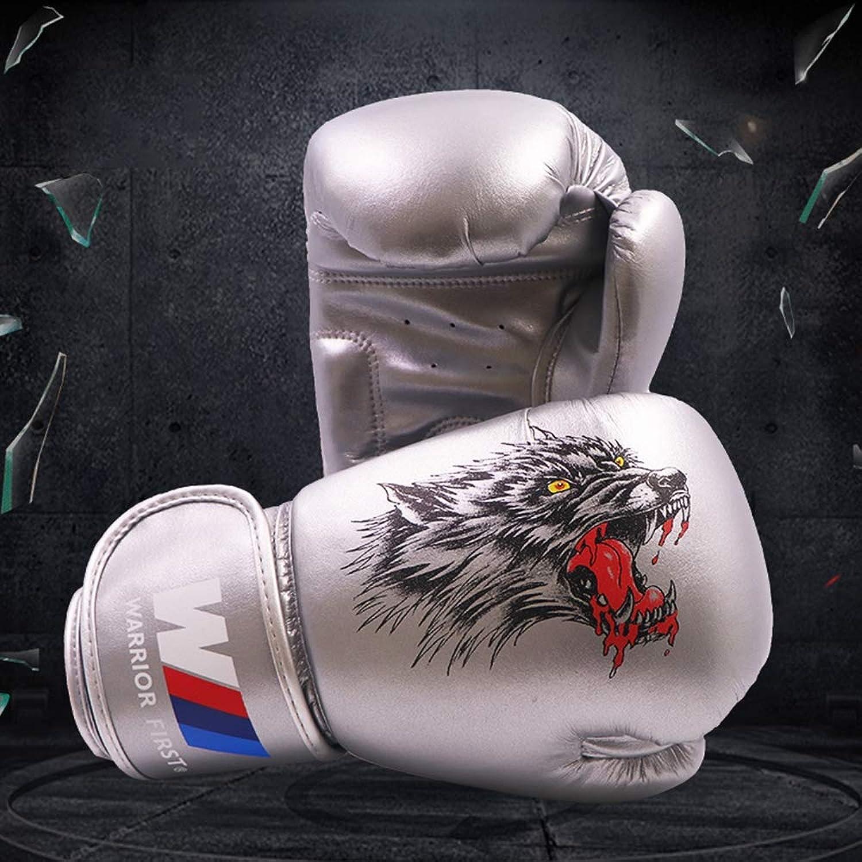XJJ Boxhandschuhe, Boxhandschuhe für Wolfskopfliner, Jungen und Mädchen, Muay-Thai-Kampf, Sanda-Trainingshandschuhe,Silber,8oz B07QC1Y742  Langfristiger Ruf