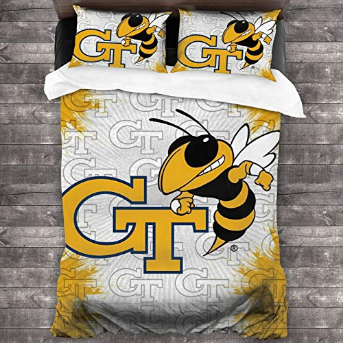 Georgia Tech Yellow Jackets Duvet Cover Set,Sports Theme Soft Microfiber Decorative 3 Piece Bedding Set with 2 Pillow Shams,Queen (86x68inch)
