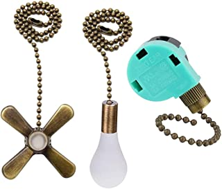 Ceiling Fan Switch 3 Speed 4 Wire ZE-268S6 with 2 Pack Ceiling Fan Pull Chain, Light Bulb and Fan Cord Extension for Ceiling Fans Lamps and Wall Lights