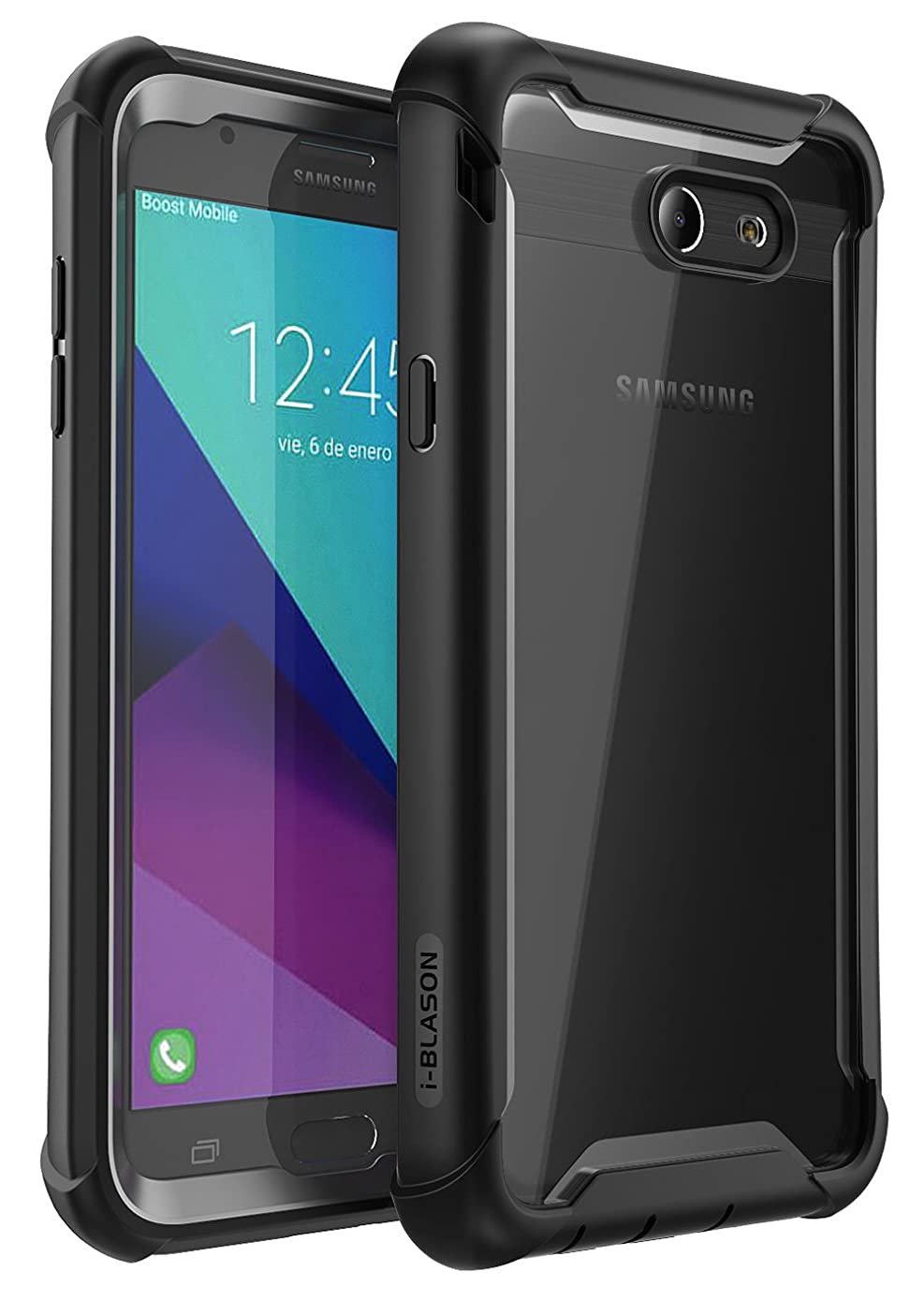 Galaxy J7 2017 Case, i-Blason [Ares] Full-Body Rugged Clear Bumper Case with Built-in Screen Protector for Galaxy Halo/J7 Sky Pro/J7 Perx/J7 2017 (SM-J727), Not fit J7 2018 (SM-J737) (Black)