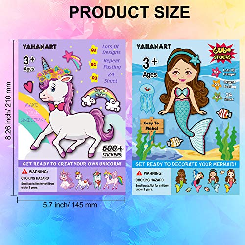 Konsait 48Sheets Make Your Own Stickers, Make A Face Stickers Set Mermaid Unicorn Theme Tea Princess Sleepover Birthday Halloween Christmas Party Favor Stickers for Kids Goodie Bag Filler Rewards