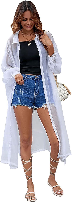 Swimsuit Cover Ups for Women Beach Plus Shirt Roll-up Sleeve Bikini Button Down Beachwear Bathing Suit Free Size Dress