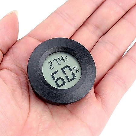 Gotyou Schwarz Runde Digitales Thermo Hygrometer 4 5 Cm Mini Lcd Display Outdoorindoor Temperatur Luftfeuchtigkeit Messen Für Gewächshaus Autos Haus Büro Kühlschrank 50 C 70 C Garten