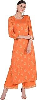 Dee Desi Women's Rayon Gold Print Gota Lace Work Straight Kurta and Palazzo Set Salwar Suit