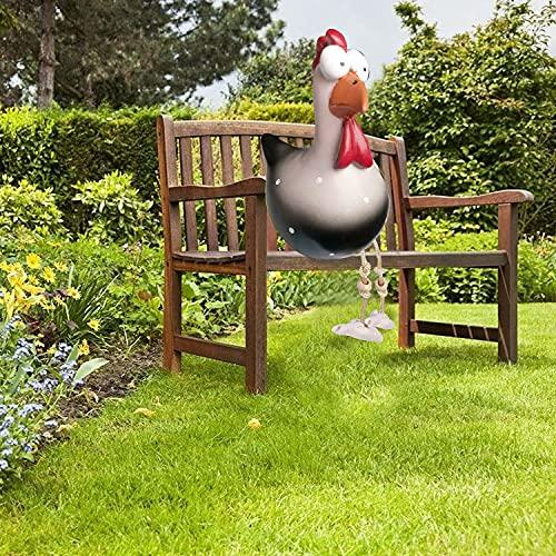 Decoración de jardín de resina con forma de gallina, pollo, decoración de jardín, decoración de animales al aire libre, patio trasero, estatua de jardín, hecha a mano, color negro