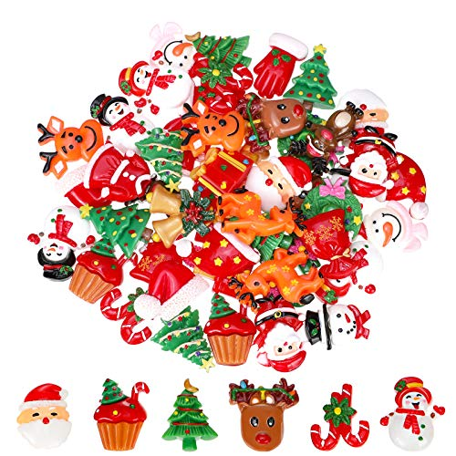 WILLBOND 50 Pieces Flat Back Buttons Christmas Resin Flatback Resin Button Craft Embellishments for DIY Crafts Making Scrapbooking Decoration
