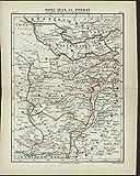 East Iran Tehran Persia 1882 antique color lithograph map