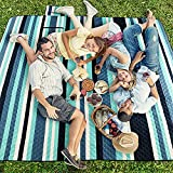 """Picnic Blankets Outdoor Mat ,LTHAIWIA Extra Large 80"""" x 80"""",Waterproof Sandproof Compact Beach Blanket, Foldable Machine Washable Quick Dry Picnic Mat for Camping, Park, Travel (Blue-White)"""