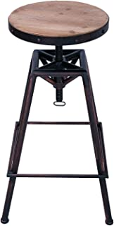 Adeco Industrial Style Stainless Steel Round Top Barstools (Round Seat, Wood Seat, Black Copper)