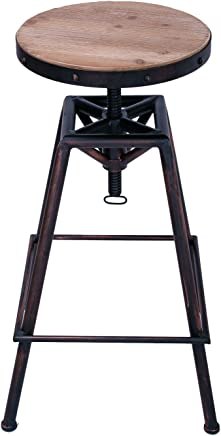 Adeco Industrial Style Stainless Steel Round Top Barstools (Round Seat,  Wood Seat,  Black Copper),  Brown