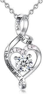 Heart Sterling Silver Necklace for Women CELESTIA CZ Heart Pendant I Love You to The Moon and Back Necklaces, Birthday Gifts - 18