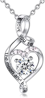 Heart Sterling Silver Necklace for Women CELESTIA CZ Heart Pendant I Love You to The Moon and Back Necklaces, Birthday Mothers Day Gifts - 18