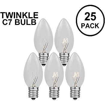 Goothy Christmas Lights 25 Pack C7 Outdoor String Light Replacement Bulbs C7//E12 Candelabra Base 5 Watt-Clear