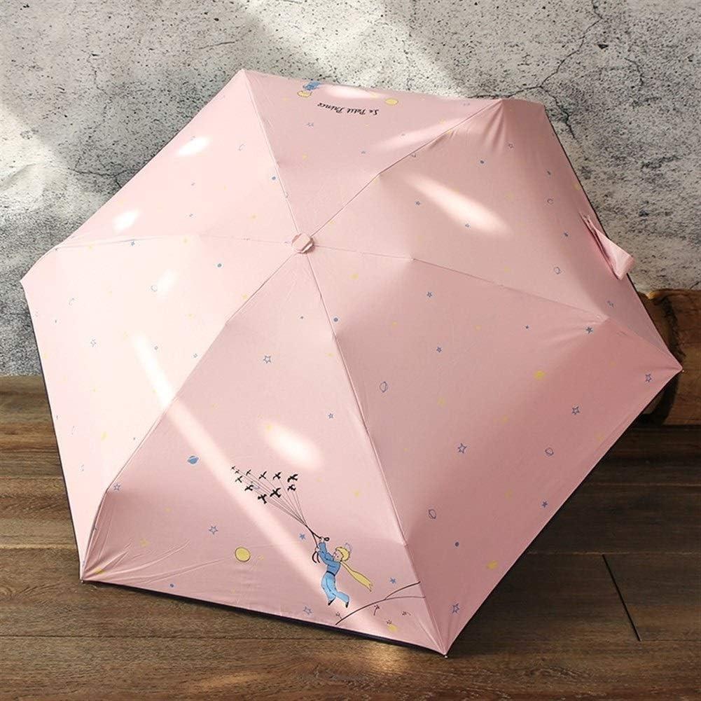 El Principito Paraguas for el Recorrido de los ni/ños N\A A Prueba de Viento Ligero Paraguas Palo Mini Manera Plegable Soleado y lluvioso Paraguas Calidad Mini Paraguas de Bolsillo