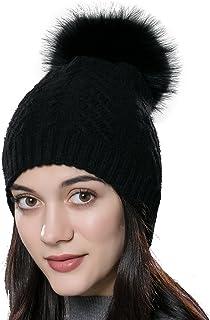 560ba8d8cac01 URSFUR Bonnet Tricot Torsade Femme Chapeau Bonnet Pompon De Fourrure Raton  Hiver