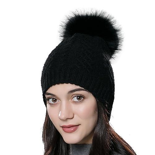 ba8ccef39dc43 URSFUR Womens Winter Bobble Hat Unisex Wool Knit Beanie Cap with Fur Ball  Pompom