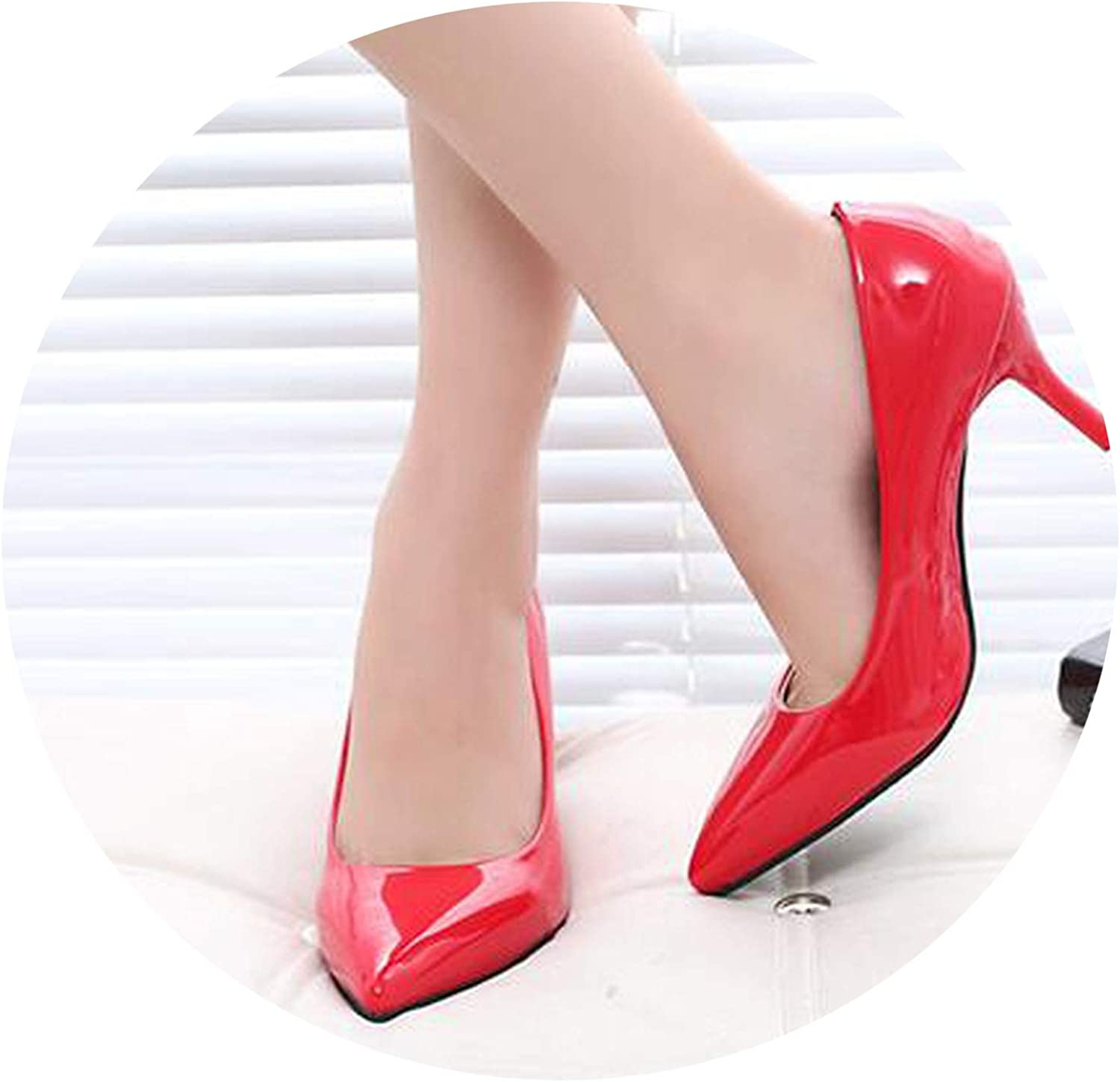 Awesome-experience New Thin Sexy Fashion Metal High Heels Mirror Patent Leather Pointed Women Single shoes