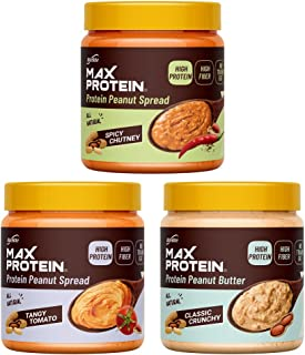 Ritebite Max Protein Peanut Butter Spread Pack of 3 (Spicy Chutney, 340g + Tangy Tomato, 340g + Classic Crunchy, 340g) - H...
