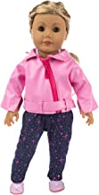 ebuddy 4pc/Set Deluxe Scooter Leather Jacket Vest Pants and Shoes for 18 inch American Girl,43cm New Born Baby Dolls,OG Dolls