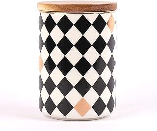 contenitore da cucina per conservare alimenti caff/è zucchero e molto altro spezie t/è erbe aromatiche Barattolo in ceramica con coperchio ermetico in bamb/ù 105 x 105 x 115 mm