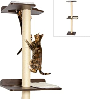 PetFusion Ultimate Cat Climbing Tower & Activity Tree. (Tall sisal Scratching Posts, Modern Wall Mounted cat Furniture, Espresso Finish). 1 Year Warranty for Manufacturer Defects (Renewed)