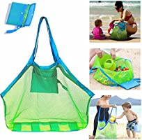 SupMLC Mesh Beach Bag Extra Large Beach Bags and Totes Tote Backpack Toys Towels Sand Away For Holding Beach Toys...